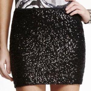 Express Mini Sequin Black Skirt
